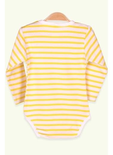 Breeze Erkek Bebek Çıtçıtlı Body Çizgili Sarı (9 Ay-3 Yaş) Sarı